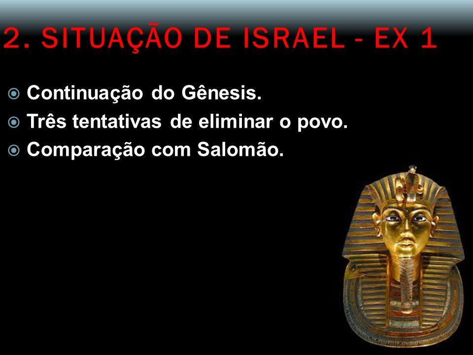 2. SITUAÇÃO DE ISRAEL - EX 1 Continuação do Gênesis. Três tentativas de eliminar o povo. Comparação com Salomão.