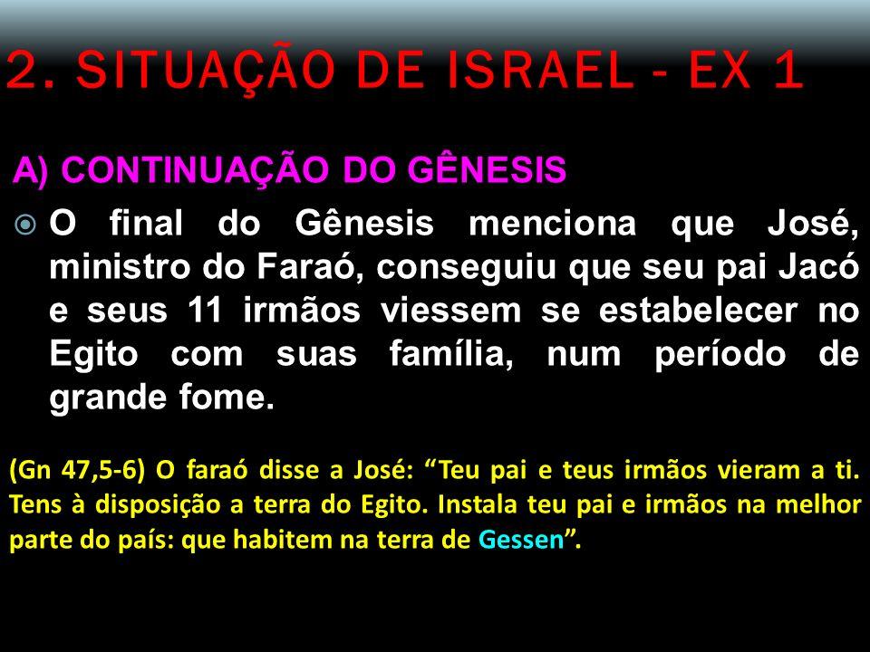 2. SITUAÇÃO DE ISRAEL - EX 1 A) CONTINUAÇÃO DO GÊNESIS O final do Gênesis menciona que José, ministro do Faraó, conseguiu que seu pai Jacó e seus 11 i