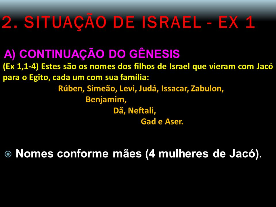 2. SITUAÇÃO DE ISRAEL - EX 1 A) CONTINUAÇÃO DO GÊNESIS (Ex 1,1-4) Estes são os nomes dos filhos de Israel que vieram com Jacó para o Egito, cada um co