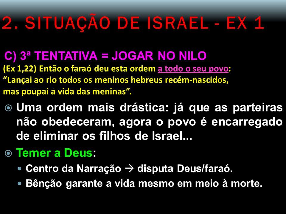 2. SITUAÇÃO DE ISRAEL - EX 1 C) 3ª TENTATIVA = JOGAR NO NILO (Ex 1,22) Então o faraó deu esta ordem a todo o seu povo: Lançai ao rio todos os meninos