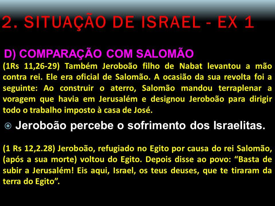 2. SITUAÇÃO DE ISRAEL - EX 1 D) COMPARAÇÃO COM SALOMÃO (1Rs 11,26-29) Também Jeroboão filho de Nabat levantou a mão contra rei. Ele era oficial de Sal