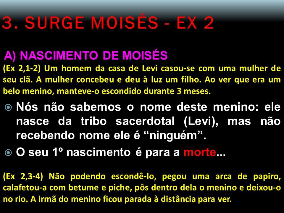 3. SURGE MOISÉS - EX 2 A) NASCIMENTO DE MOISÉS (Ex 2,1-2) Um homem da casa de Levi casou-se com uma mulher de seu clã. A mulher concebeu e deu à luz u