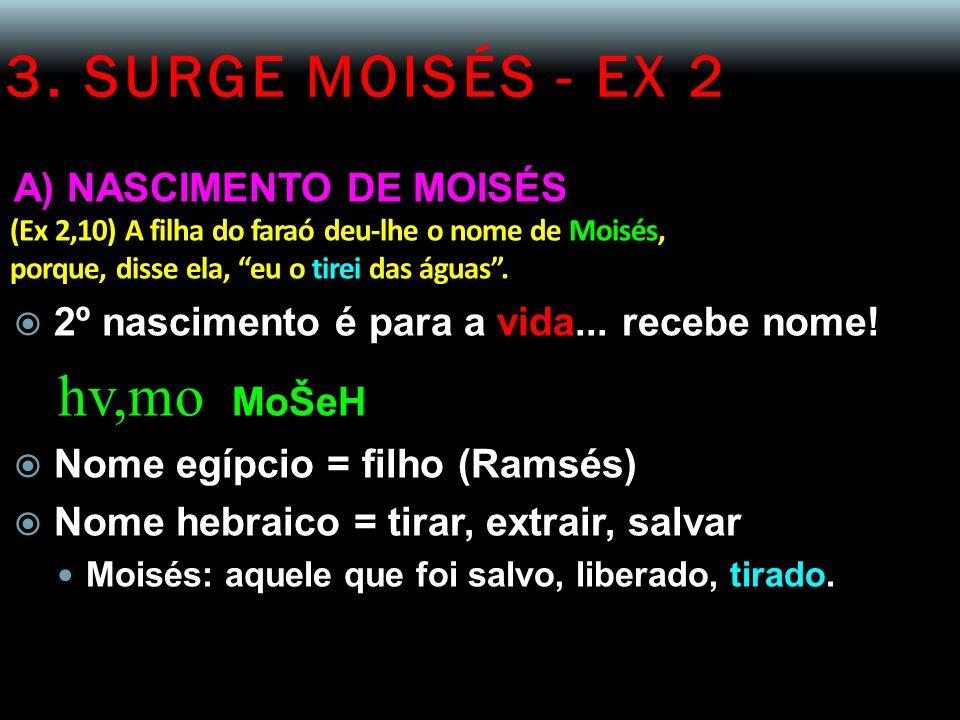 3. SURGE MOISÉS - EX 2 A) NASCIMENTO DE MOISÉS (Ex 2,10) A filha do faraó deu-lhe o nome de Moisés, porque, disse ela, eu o tirei das águas. 2º nascim