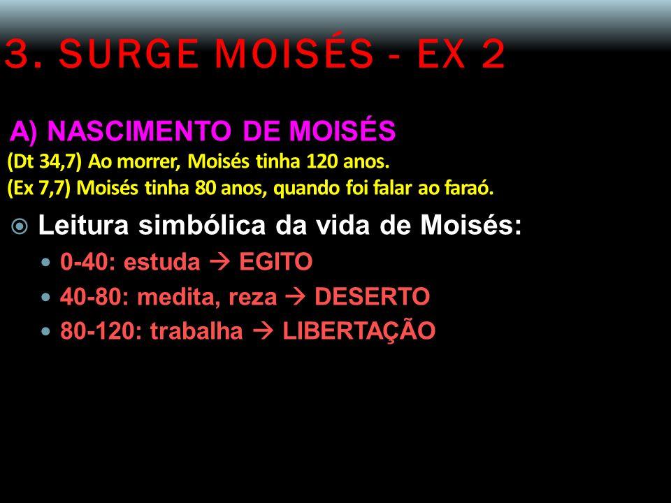 3. SURGE MOISÉS - EX 2 A) NASCIMENTO DE MOISÉS (Dt 34,7) Ao morrer, Moisés tinha 120 anos. (Ex 7,7) Moisés tinha 80 anos, quando foi falar ao faraó. L