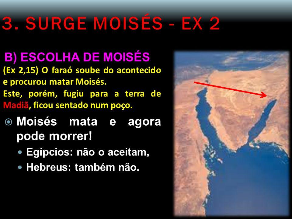 3. SURGE MOISÉS - EX 2 B) ESCOLHA DE MOISÉS (Ex 2,15) O faraó soube do acontecido e procurou matar Moisés. Este, porém, fugiu para a terra de Madiã, f