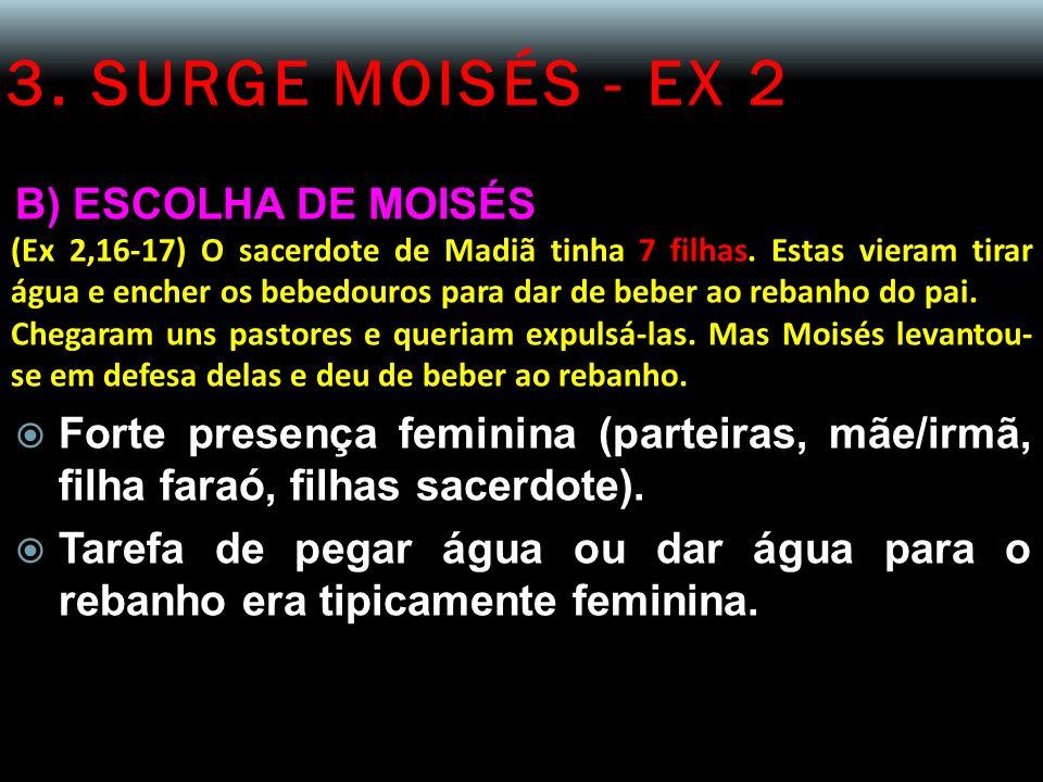 3. SURGE MOISÉS - EX 2 B) ESCOLHA DE MOISÉS (Ex 2,16-17) O sacerdote de Madiã tinha 7 filhas. Estas vieram tirar água e encher os bebedouros para dar
