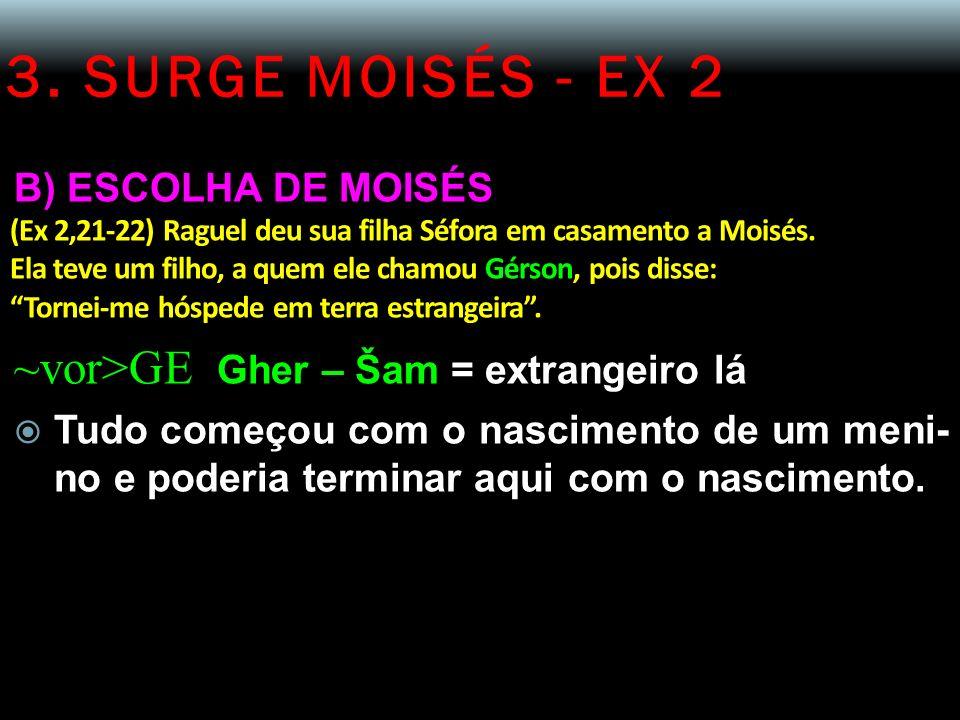 3. SURGE MOISÉS - EX 2 B) ESCOLHA DE MOISÉS (Ex 2,21-22) Raguel deu sua filha Séfora em casamento a Moisés. Ela teve um filho, a quem ele chamou Gérso