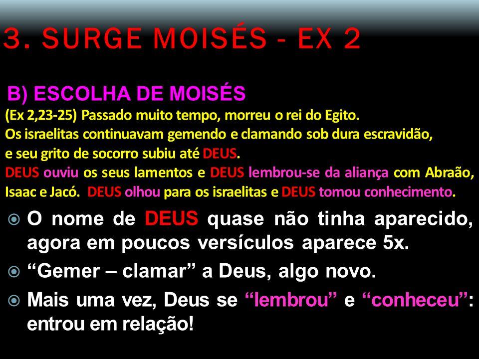 3. SURGE MOISÉS - EX 2 B) ESCOLHA DE MOISÉS (Ex 2,23-25) Passado muito tempo, morreu o rei do Egito. Os israelitas continuavam gemendo e clamando sob