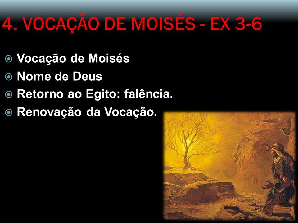 4. VOCAÇÃO DE MOISÉS - EX 3-6 Vocação de Moisés Nome de Deus Retorno ao Egito: falência. Renovação da Vocação.
