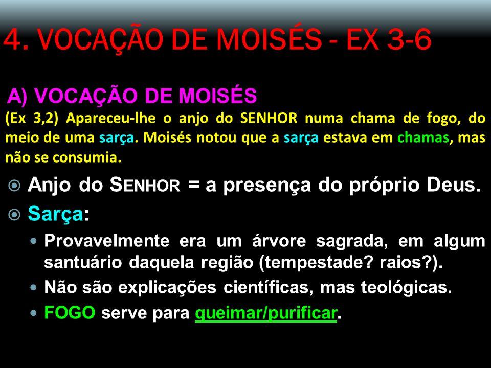 4. VOCAÇÃO DE MOISÉS - EX 3-6 A) VOCAÇÃO DE MOISÉS (Ex 3,2) Apareceu-lhe o anjo do SENHOR numa chama de fogo, do meio de uma sarça. Moisés notou que a