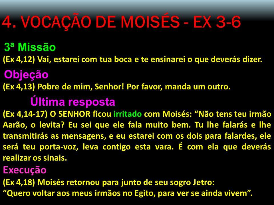 4. VOCAÇÃO DE MOISÉS - EX 3-6 3ª Missão (Ex 4,12) Vai, estarei com tua boca e te ensinarei o que deverás dizer. Objeção (Ex 4,13) Pobre de mim, Senhor