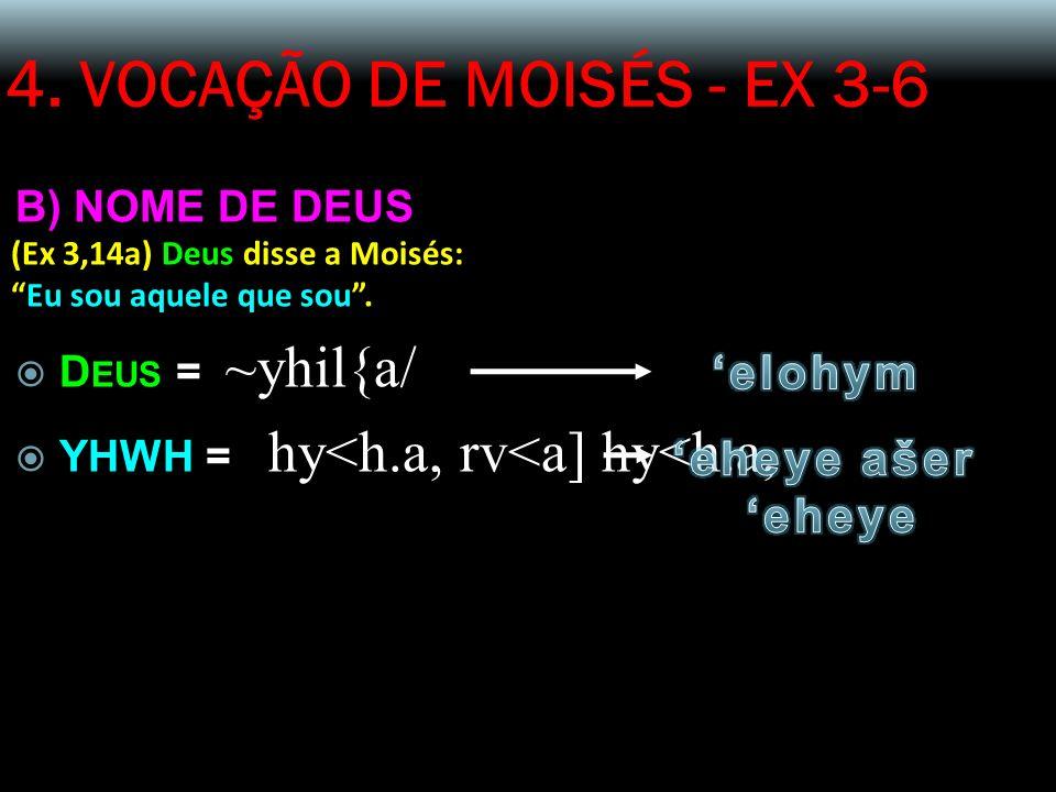 4. VOCAÇÃO DE MOISÉS - EX 3-6 B) NOME DE DEUS (Ex 3,14a) Deus disse a Moisés: Eu sou aquele que sou. D EUS = ~yhil{a/ YHWH = hy<h.a, rv<a] hy<h.a,