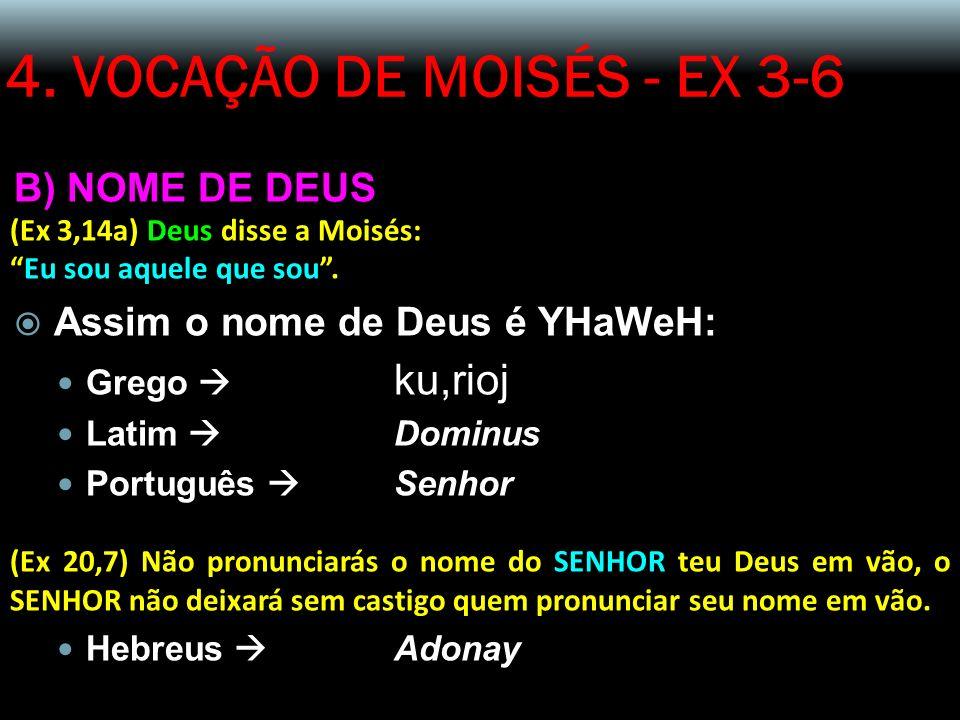 4. VOCAÇÃO DE MOISÉS - EX 3-6 B) NOME DE DEUS (Ex 3,14a) Deus disse a Moisés: Eu sou aquele que sou. Assim o nome de Deus é YHaWeH: Grego ku,rioj Lati