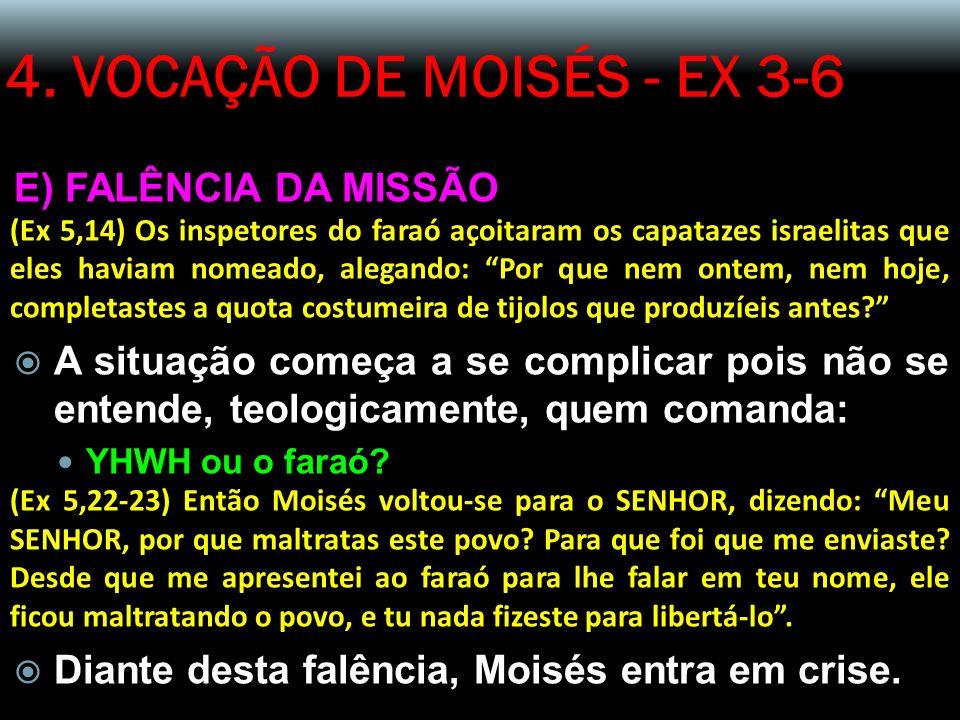 4. VOCAÇÃO DE MOISÉS - EX 3-6 E) FALÊNCIA DA MISSÃO (Ex 5,14) Os inspetores do faraó açoitaram os capatazes israelitas que eles haviam nomeado, alegan