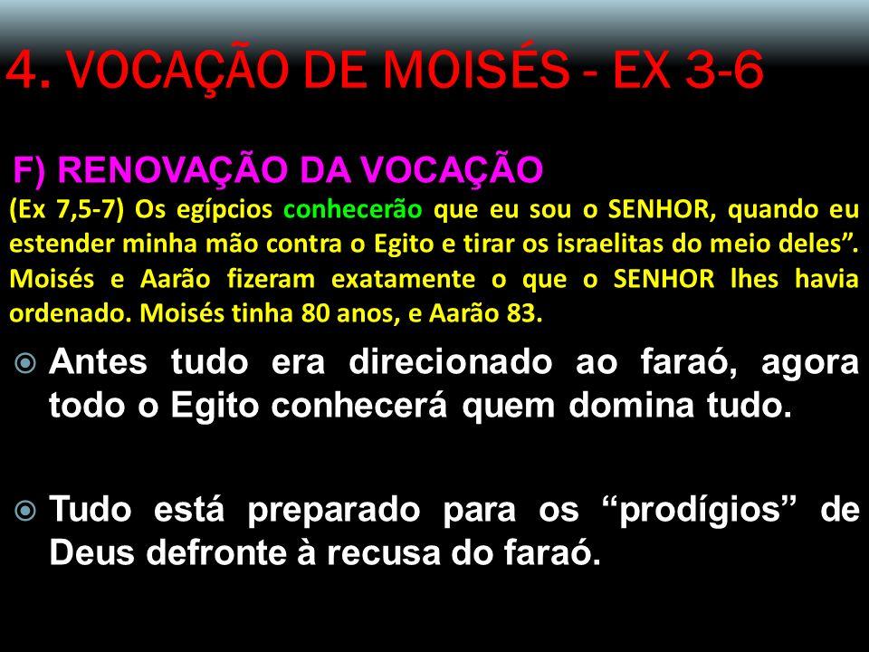 4. VOCAÇÃO DE MOISÉS - EX 3-6 F) RENOVAÇÃO DA VOCAÇÃO (Ex 7,5-7) Os egípcios conhecerão que eu sou o SENHOR, quando eu estender minha mão contra o Egi