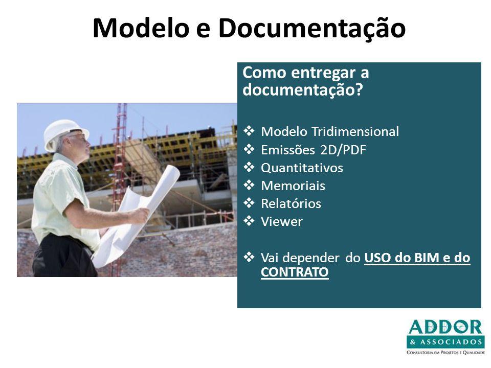 Modelo e Documentação Como entregar a documentação? Modelo Tridimensional Emissões 2D/PDF Quantitativos Memoriais Relatórios Viewer Vai depender do US
