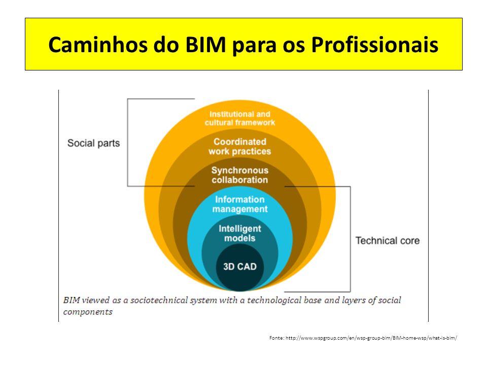 Caminhos do BIM para os Profissionais Fonte: http://www.wspgroup.com/en/wsp-group-bim/BIM-home-wsp/what-is-bim/