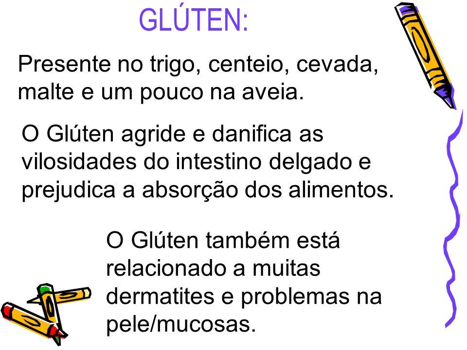 GLÚTEN: Presente no trigo, centeio, cevada, malte e um pouco na aveia. O Glúten agride e danifica as vilosidades do intestino delgado e prejudica a ab
