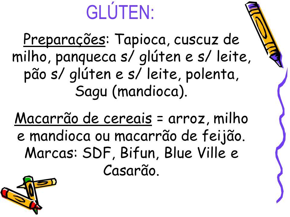 GLÚTEN: Preparações: Tapioca, cuscuz de milho, panqueca s/ glúten e s/ leite, pão s/ glúten e s/ leite, polenta, Sagu (mandioca). Macarrão de cereais