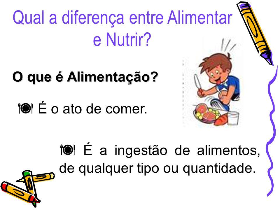 Qual a diferença entre Alimentar e Nutrir? O que é Alimentação? É o ato de comer. É a ingestão de alimentos, de qualquer tipo ou quantidade.