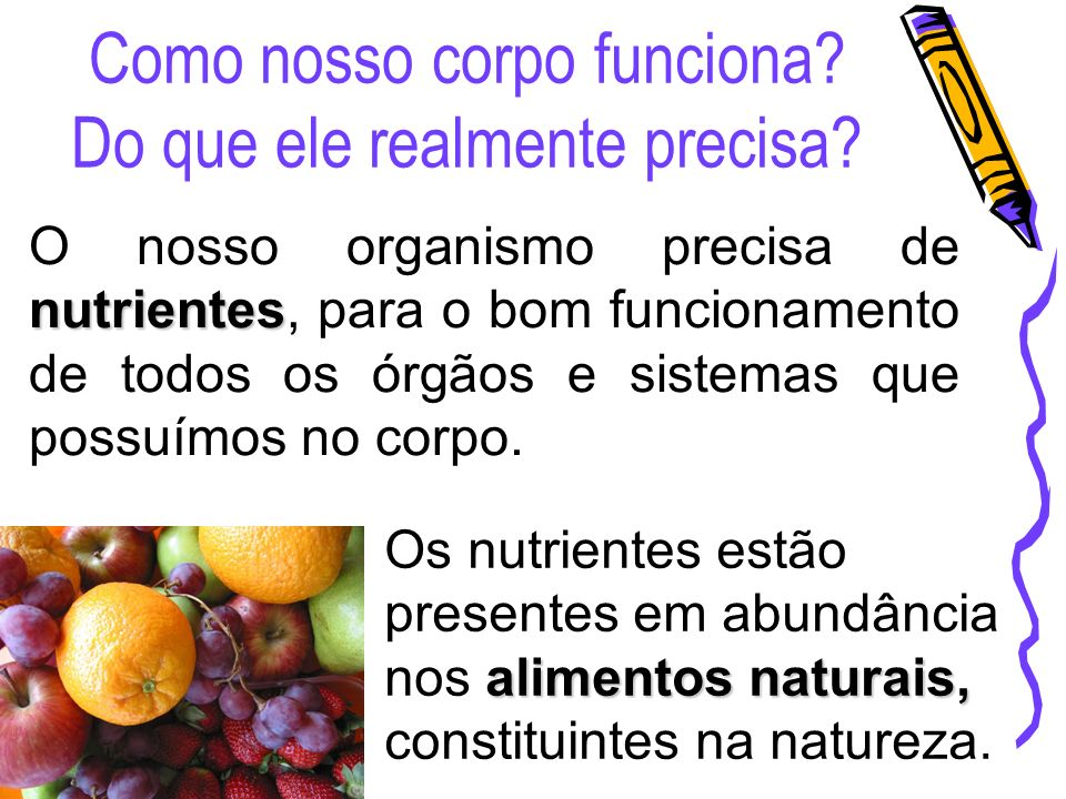 Como nosso corpo funciona? Do que ele realmente precisa? nutrientes O nosso organismo precisa de nutrientes, para o bom funcionamento de todos os órgã