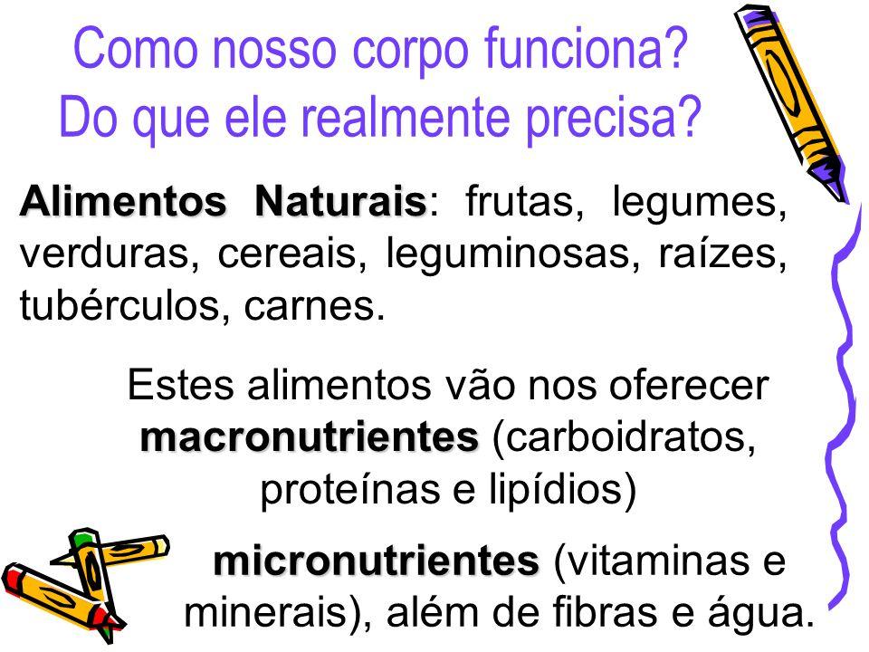 Alimentos Naturais Alimentos Naturais: frutas, legumes, verduras, cereais, leguminosas, raízes, tubérculos, carnes. macronutrientes Estes alimentos vã