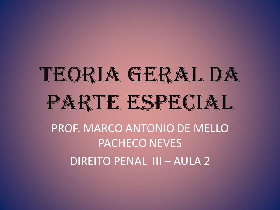 Teoria Geral da Parte Especial PROF. MARCO ANTONIO DE MELLO PACHECO NEVES DIREITO PENAL III – AULA 2