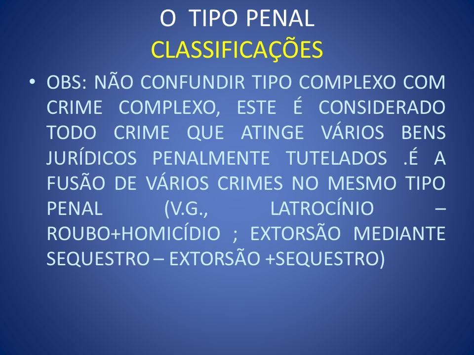 O TIPO PENAL CLASSIFICAÇÕES OBS: NÃO CONFUNDIR TIPO COMPLEXO COM CRIME COMPLEXO, ESTE É CONSIDERADO TODO CRIME QUE ATINGE VÁRIOS BENS JURÍDICOS PENALM