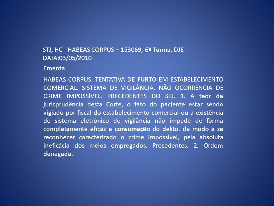 STJ, HC - HABEAS CORPUS – 153069, 6ª Turma, DJE DATA:03/05/2010 Ementa HABEAS CORPUS. TENTATIVA DE FURTO EM ESTABELECIMENTO COMERCIAL. SISTEMA DE VIGI