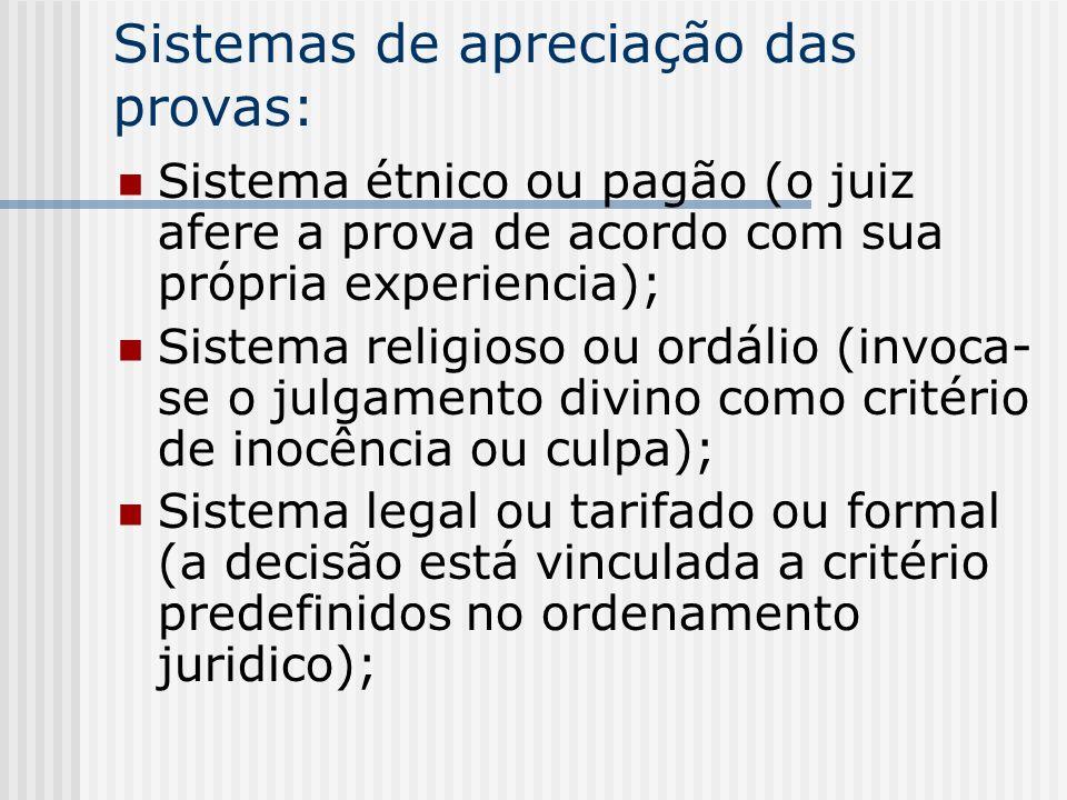 Sistemas de apreciação das provas: Sistema étnico ou pagão (o juiz afere a prova de acordo com sua própria experiencia); Sistema religioso ou ordálio