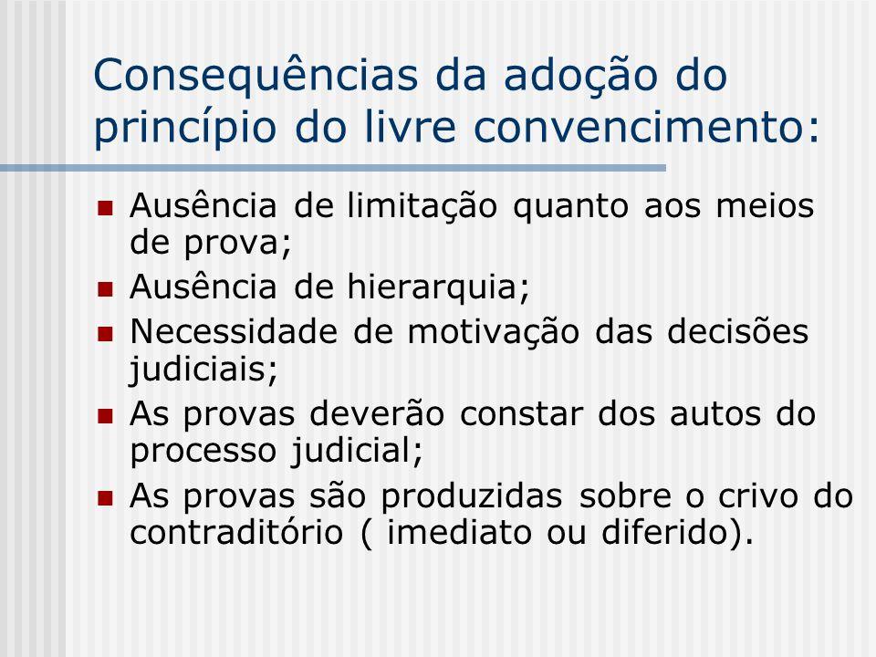 Consequências da adoção do princípio do livre convencimento: Ausência de limitação quanto aos meios de prova; Ausência de hierarquia; Necessidade de m