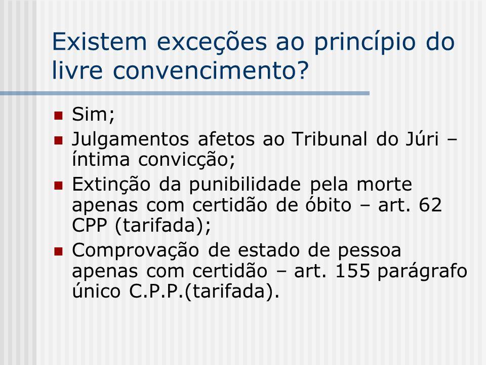 Existem exceções ao princípio do livre convencimento? Sim; Julgamentos afetos ao Tribunal do Júri – íntima convicção; Extinção da punibilidade pela mo