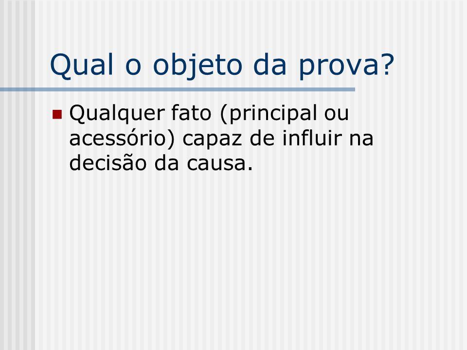 Qual o objeto da prova? Qualquer fato (principal ou acessório) capaz de influir na decisão da causa.