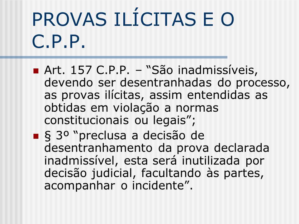 PROVAS ILÍCITAS E O C.P.P. Art. 157 C.P.P. – São inadmissíveis, devendo ser desentranhadas do processo, as provas ilícitas, assim entendidas as obtida