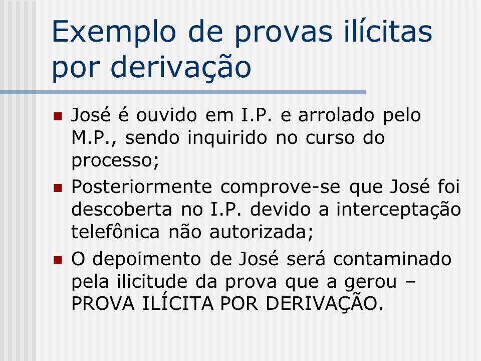 Exemplo de provas ilícitas por derivação José é ouvido em I.P. e arrolado pelo M.P., sendo inquirido no curso do processo; Posteriormente comprove-se