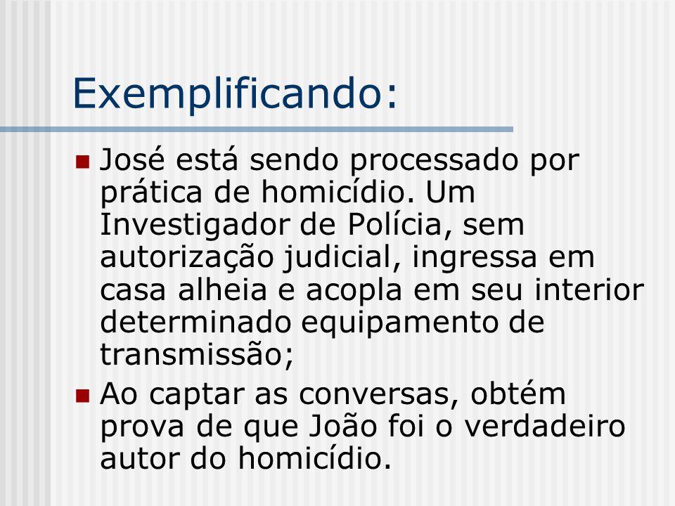 Exemplificando: José está sendo processado por prática de homicídio. Um Investigador de Polícia, sem autorização judicial, ingressa em casa alheia e a