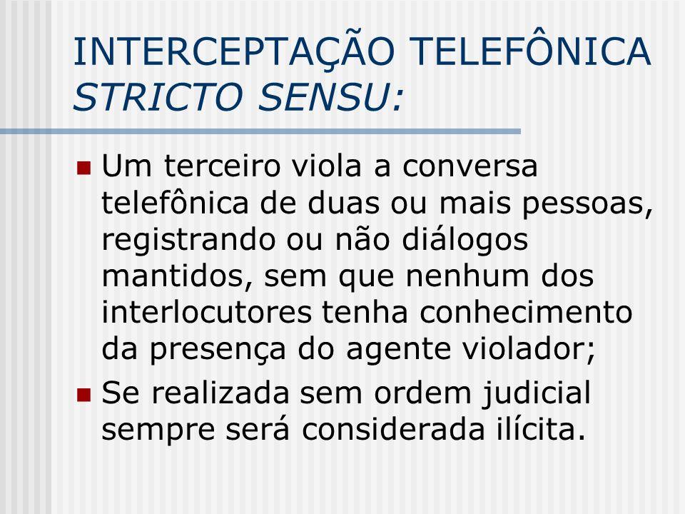 INTERCEPTAÇÃO TELEFÔNICA STRICTO SENSU: Um terceiro viola a conversa telefônica de duas ou mais pessoas, registrando ou não diálogos mantidos, sem que