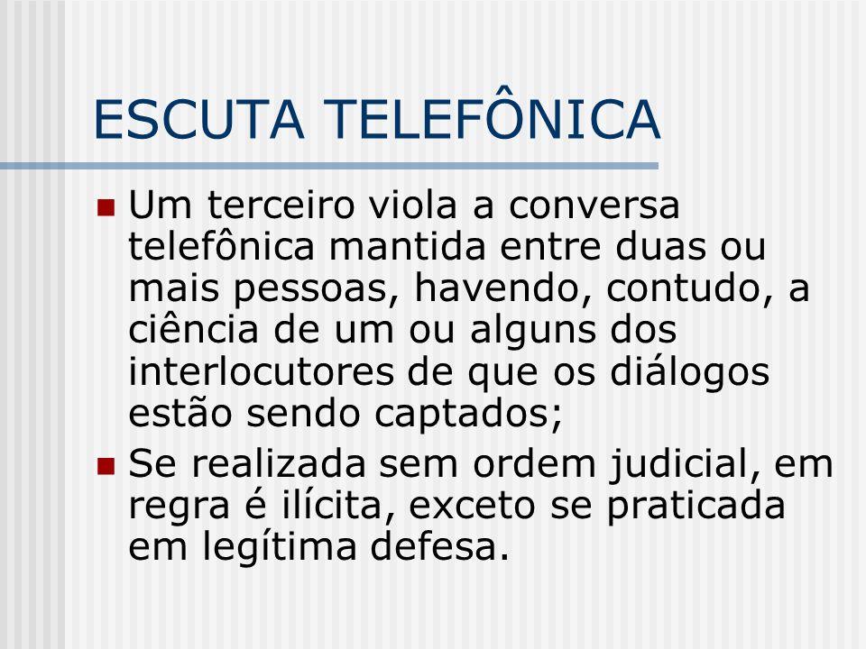 ESCUTA TELEFÔNICA Um terceiro viola a conversa telefônica mantida entre duas ou mais pessoas, havendo, contudo, a ciência de um ou alguns dos interloc