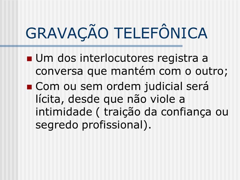 GRAVAÇÃO TELEFÔNICA Um dos interlocutores registra a conversa que mantém com o outro; Com ou sem ordem judicial será lícita, desde que não viole a int