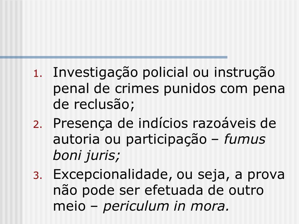 1. Investigação policial ou instrução penal de crimes punidos com pena de reclusão; 2. Presença de indícios razoáveis de autoria ou participação – fum