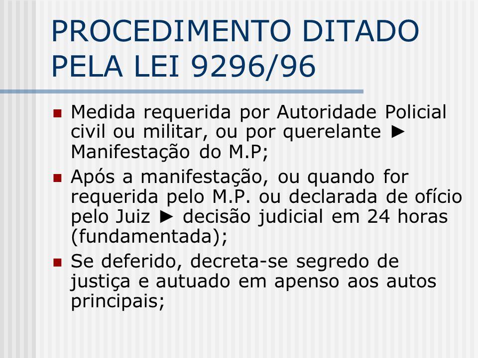 PROCEDIMENTO DITADO PELA LEI 9296/96 Medida requerida por Autoridade Policial civil ou militar, ou por querelante Manifestação do M.P; Após a manifest