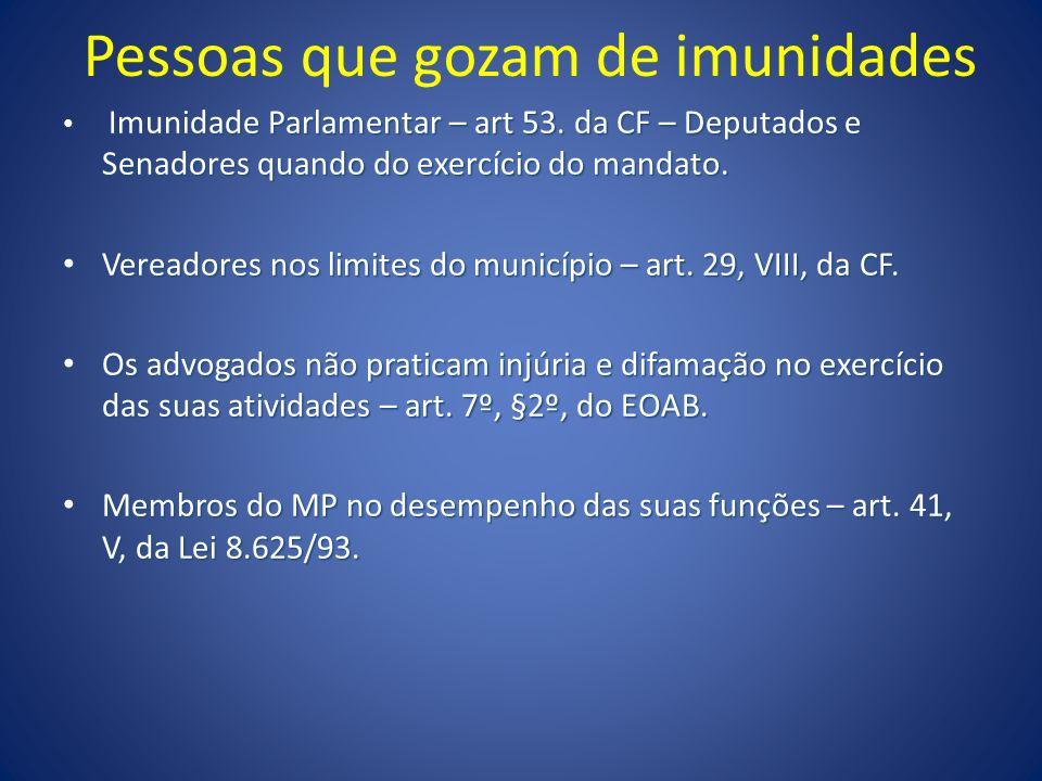 Pessoas que gozam de imunidades Imunidade Parlamentar – art 53. da CF – Deputados e Senadores quando do exercício do mandato. Imunidade Parlamentar –