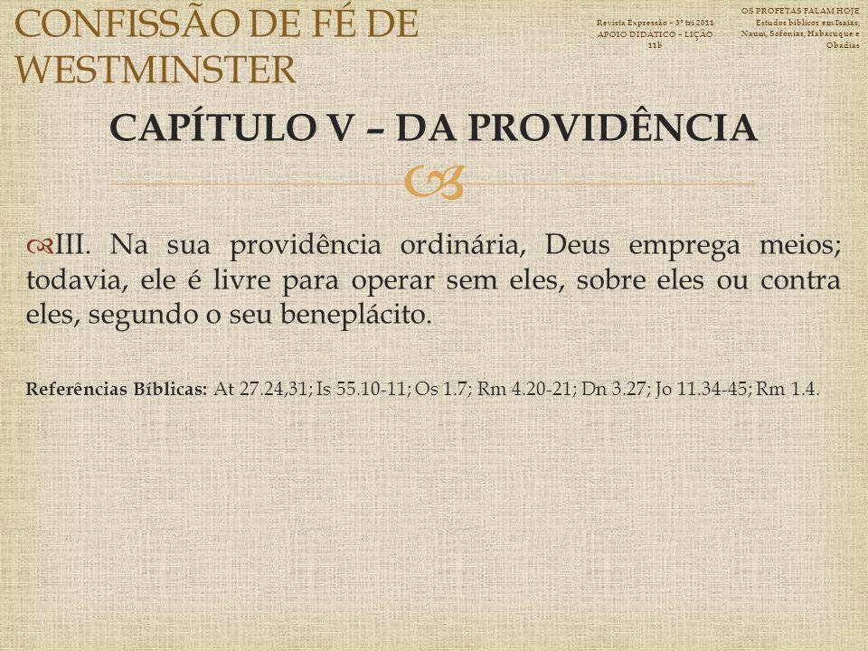 CAPÍTULO V – DA PROVIDÊNCIA III.