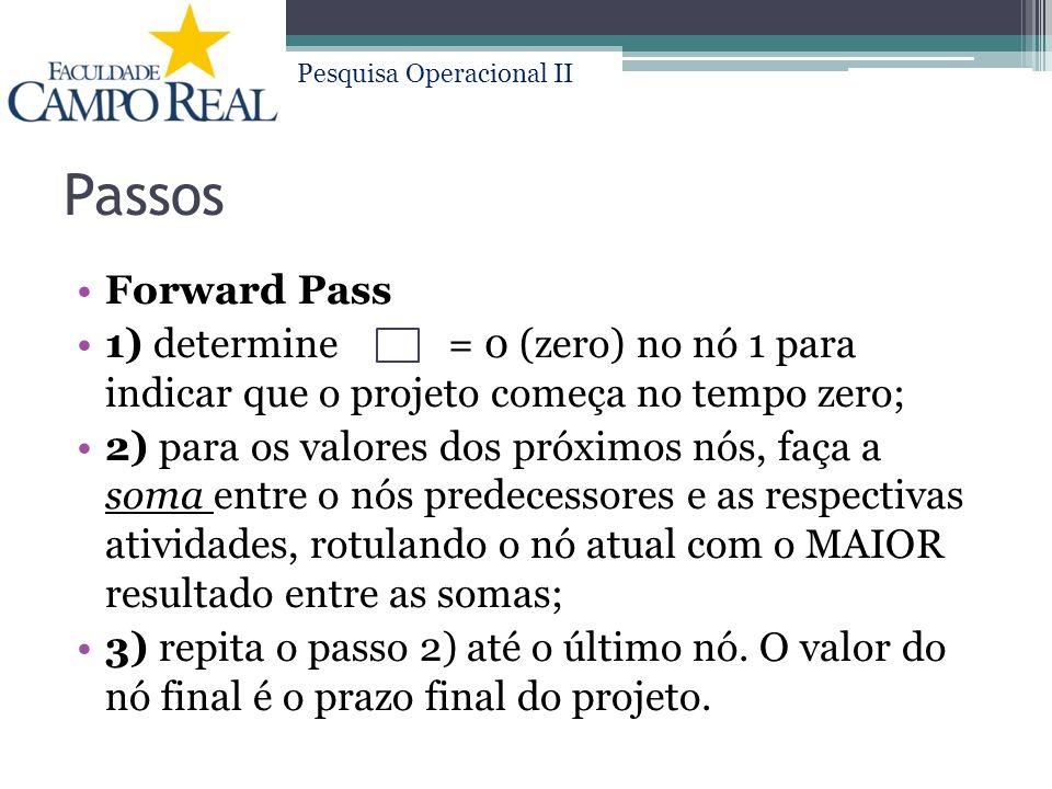Pesquisa Operacional II Passos Forward Pass 1) determine = 0 (zero) no nó 1 para indicar que o projeto começa no tempo zero; 2) para os valores dos próximos nós, faça a soma entre o nós predecessores e as respectivas atividades, rotulando o nó atual com o MAIOR resultado entre as somas; 3) repita o passo 2) até o último nó.