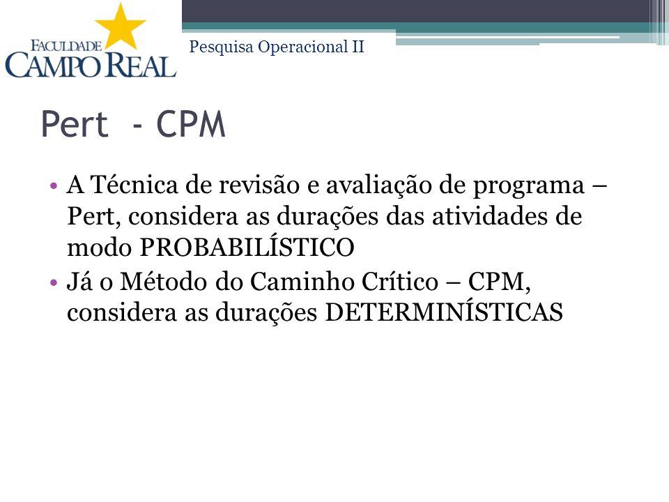 Pesquisa Operacional II Pert - CPM A Técnica de revisão e avaliação de programa – Pert, considera as durações das atividades de modo PROBABILÍSTICO Já o Método do Caminho Crítico – CPM, considera as durações DETERMINÍSTICAS