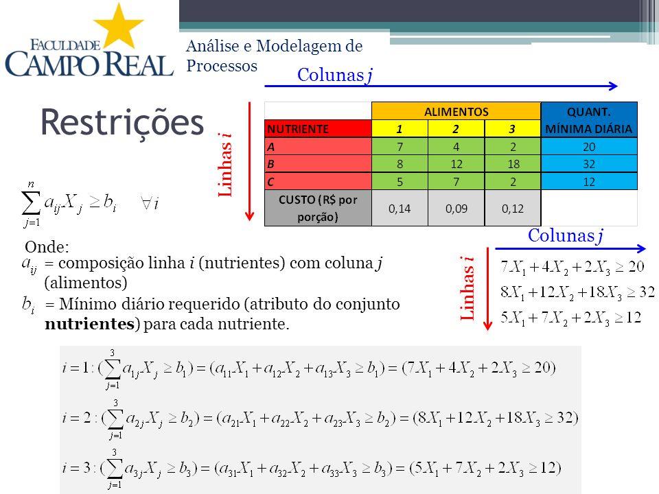 Análise e Modelagem de Processos Restrições Colunas j Linhas i Colunas j Linhas i Onde: = composição linha i (nutrientes) com coluna j (alimentos) = M