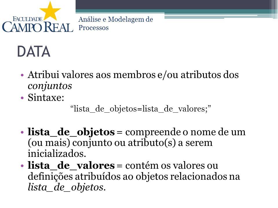 Análise e Modelagem de Processos DATA Atribui valores aos membros e/ou atributos dos conjuntos Sintaxe: lista_de_objetos=lista_de_valores; lista_de_ob