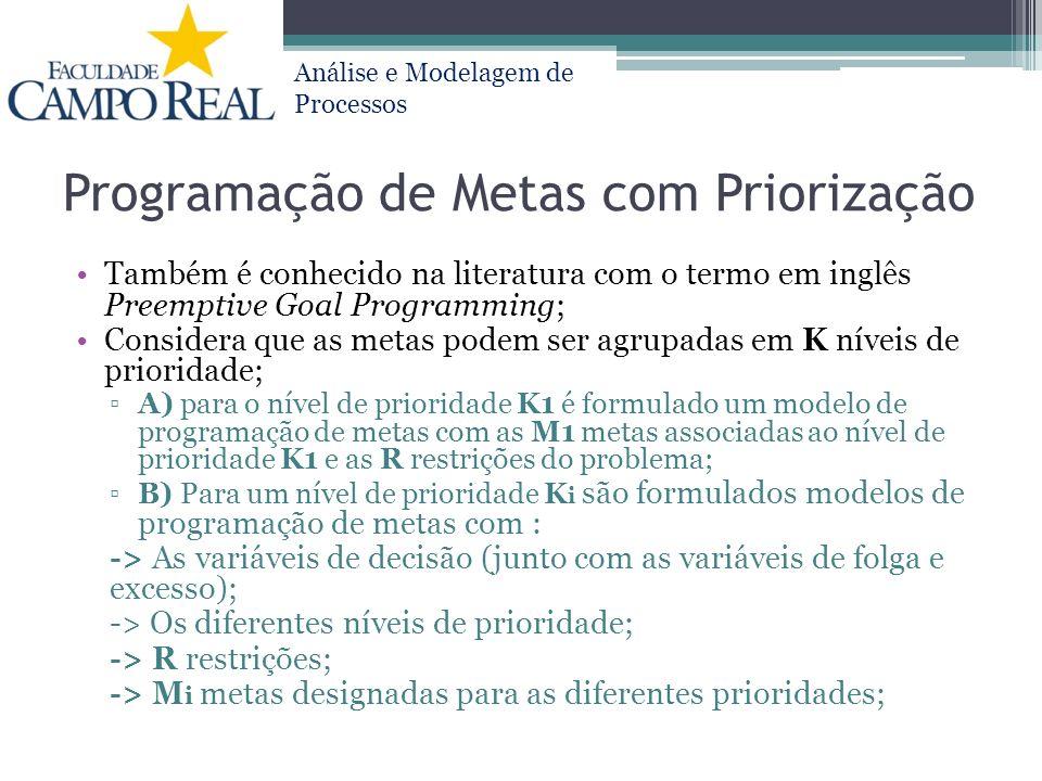 Análise e Modelagem de Processos Programação de Metas com Priorização Também é conhecido na literatura com o termo em inglês Preemptive Goal Programmi