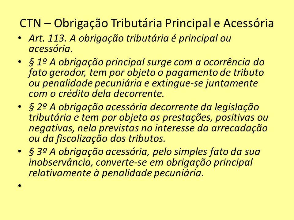 CTN – Obrigação Tributária Principal e Acessória Art. 113. A obrigação tributária é principal ou acessória. § 1º A obrigação principal surge com a oco