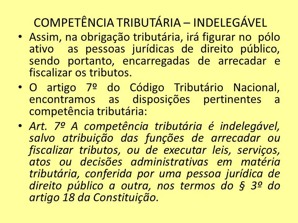 COMPETÊNCIA TRIBUTÁRIA – INDELEGÁVEL Assim, na obrigação tributária, irá figurar no pólo ativo as pessoas jurídicas de direito público, sendo portanto